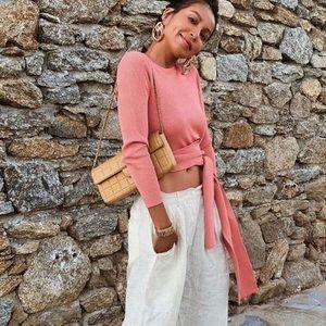 Zara Coral Long Sleeve Top